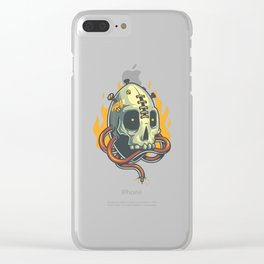 Skull Fire Clear iPhone Case