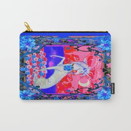 White Unicorn Flower's Fantasy Blue-Pink Landscape Carry-All Pouch