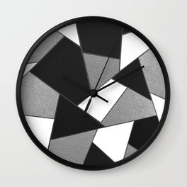 Silver Gray Black White Geometric Glam #1 #geo #decor #art #society6 Wall Clock