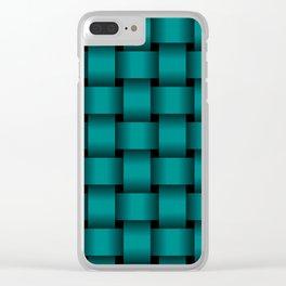 Large Dark Cyan Weave Clear iPhone Case
