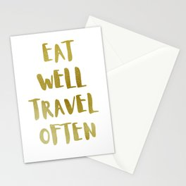 Eat Well Travel Often Metallic Gold x White |  Quote Stationery Cards