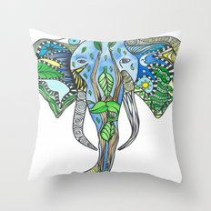 Tatoo Elephant Throw Pillow