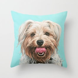 Adorable Yorkie Painting, Yorkshire Terrier Portrait, Smiling Yorkie Art Throw Pillow