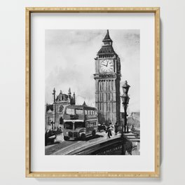 Big Ben London City UK Black and White Watercolor Painting Serving Tray