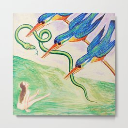 Angry Birds! - The Abducted Snake surrealism portrait painting by Nils Dardel Metal Print