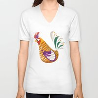 rooster V-neck T-shirts featuring Rooster by Jackie Sullivan