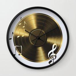 Gold LP Vinyl Record Wall Clock