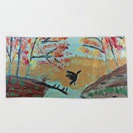 Autumn Duck Pond Beach Towel