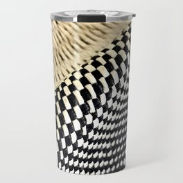 Basket Weave and Checkerboard Hat Pattern Travel Mug