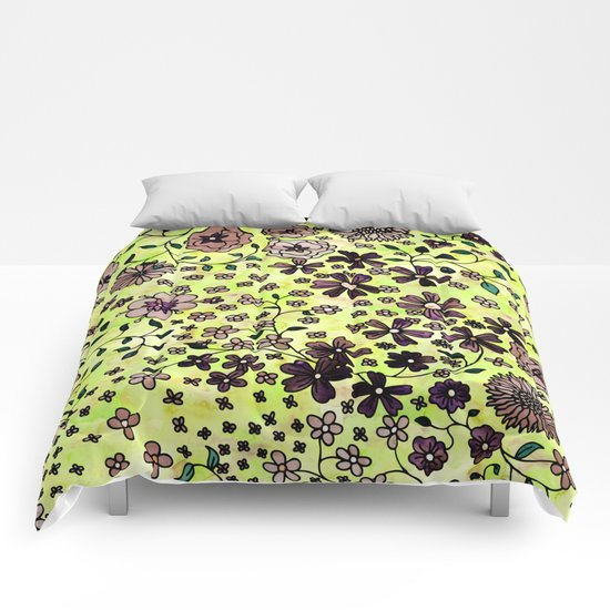 Brown Small Flowers Comforters