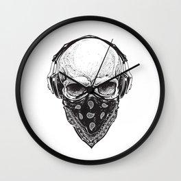 Skull in Headphones Wall Clock