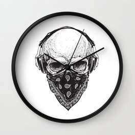 Skull in Headphones Wall Clock