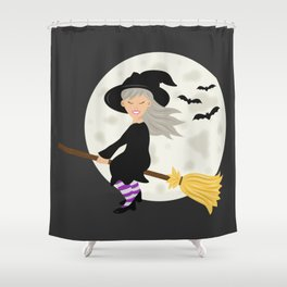 Cute Halloween Witch Girl Flying Cartoon Illustration Shower Curtain