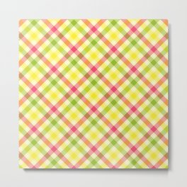 Yellow, Green and Pink Diagonal Plaid Pattern Metal Print