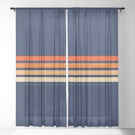 Retro 4 Thin Stripes Sheer Curtain
