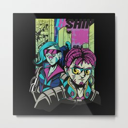 Sci Fi Comic cyberpunk Scene Design Metal Print