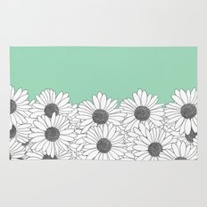 Daisy Boarder Mint Rug