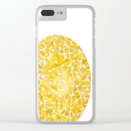Yellow Oval Gem Clear iPhone Case
