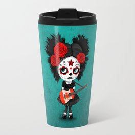 Day of the Dead Girl Playing Canadian Flag Guitar Travel Mug