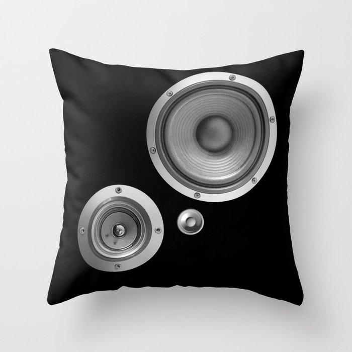 Subwoofer Speaker on black Throw Pillow