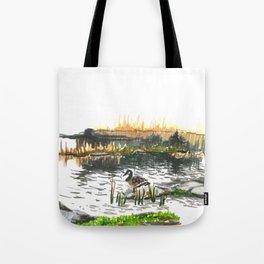 Facing water Tote Bag