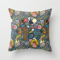 et Throw Pillows featuring ET! by Chris Piascik