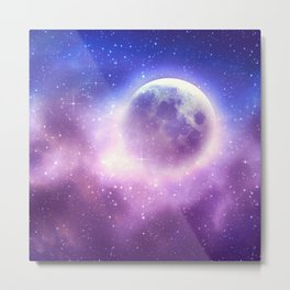 Starry sky background and full moon Metal Print