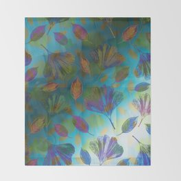 Ginkgo Leaves Under Water Throw Blanket
