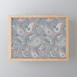 Gray & Light Pink Paisley Pattern Framed Mini Art Print