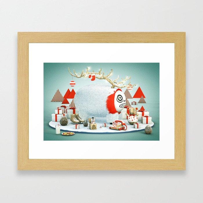 Xmas Reindeer Framed Art Print