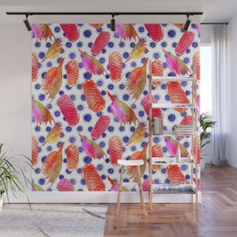 Beautiful Australian Native Floral Pattern - Grevillea and Beehive Ginger Wall Mural