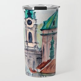 Prague Czech Republic watercolor Travel Mug