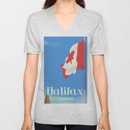 Halifax Canada travel poster Unisex V-Neck
