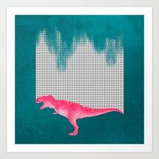 DinoRose - pinky tyrex Art Print