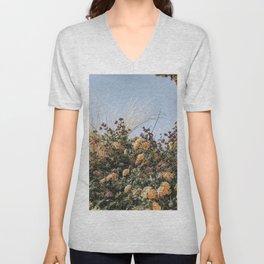 Bohemian Wildflower Boquet // Purple Lavender Yellow Orange Pink Flowers Muted Blue Sky Unisex V-Neck