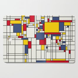 World Map Abstract Mondrian Style Cutting Board