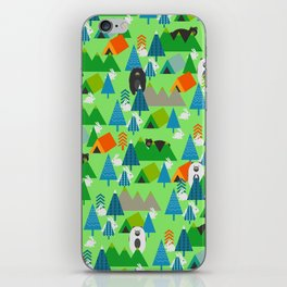 Forest with cute little bunnies and bears iPhone Skin