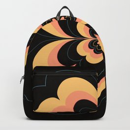 Vintage Flower Design in Sherbet Pink and Buttery Yellow On Black Backpack