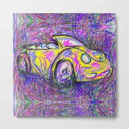 Expressive Bright Yellow V W Beetle created under the influence of Caffine by annmariescreations Metal Print