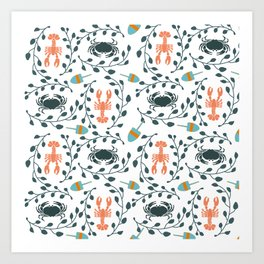 Lobster and Crab Motif Art Print
