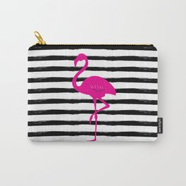 Flamingo & Stripes - Black Hot Pink Carry-All Pouch