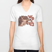 wolves V-neck T-shirts featuring Wolves by Lindsey Lea