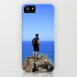 Man standing on the top of the mountain by the sea|Hawaii iPhone Case
