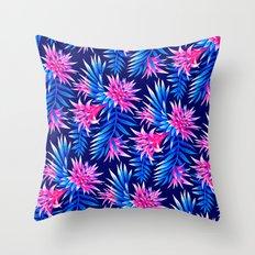 Aechmea Fasciata - Mid Blue/Pink Throw Pillow
