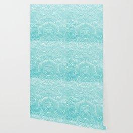 Robin Egg Blue Tooled Leather Wallpaper
