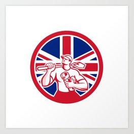 British Drainlayer Union Jack Flag Icon Art Print