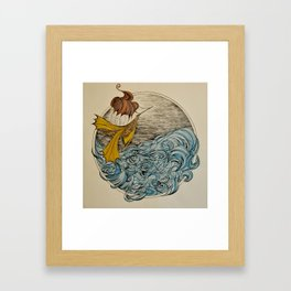 The Ship and The Swirling Sea Framed Art Print