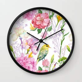 Pink Irises, Hydrangeas, Greenery, Yellow Birds Wall Clock