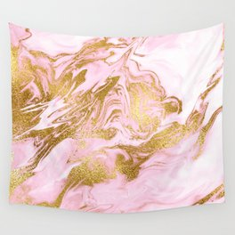 Rose Gold Mermaid Marble Wall Tapestry
