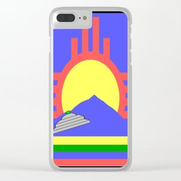 flag of Roswell with flying saucer Clear iPhone Case